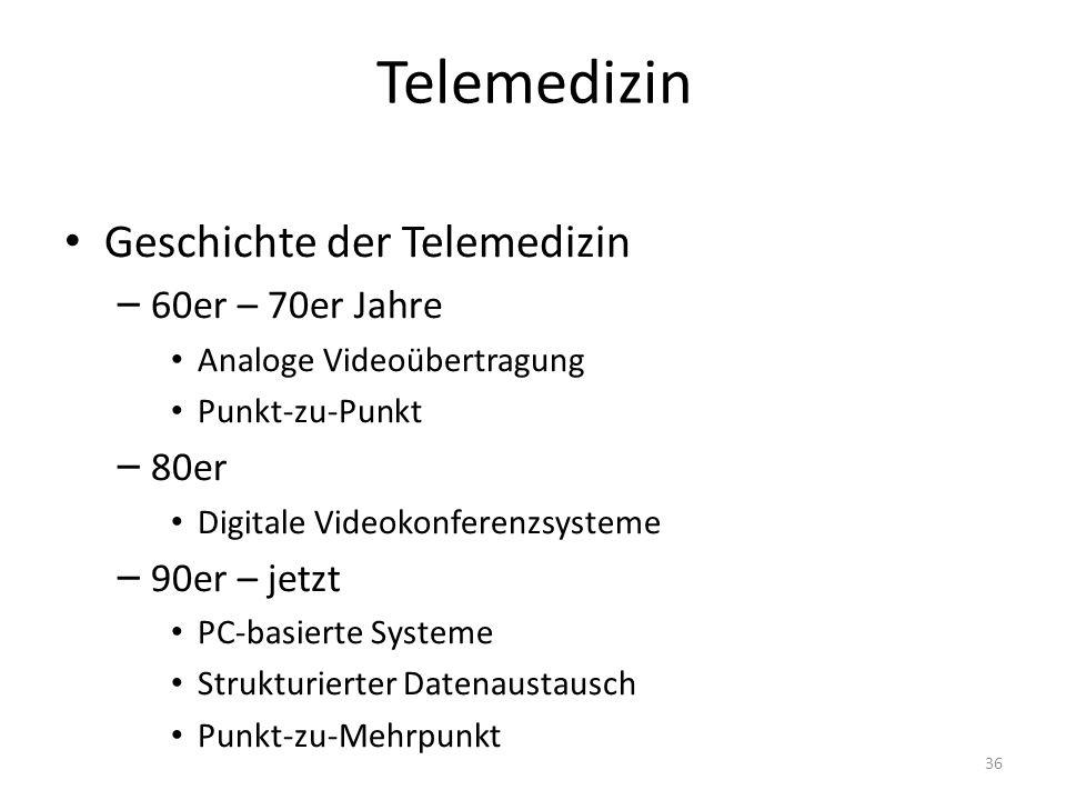 Telemedizin Geschichte der Telemedizin 60er – 70er Jahre 80er