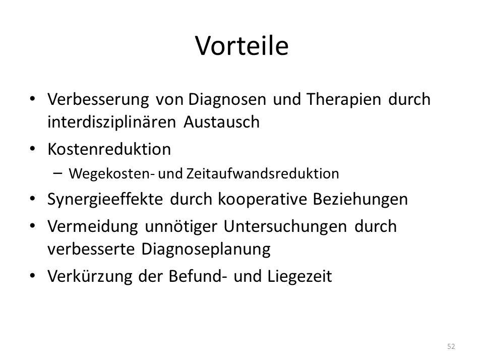 Vorteile Verbesserung von Diagnosen und Therapien durch interdisziplinären Austausch. Kostenreduktion.