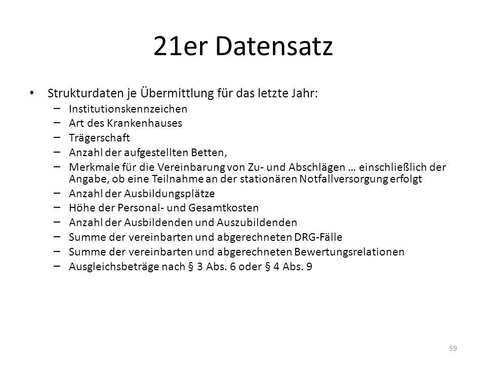21er Datensatz Strukturdaten je Übermittlung für das letzte Jahr: