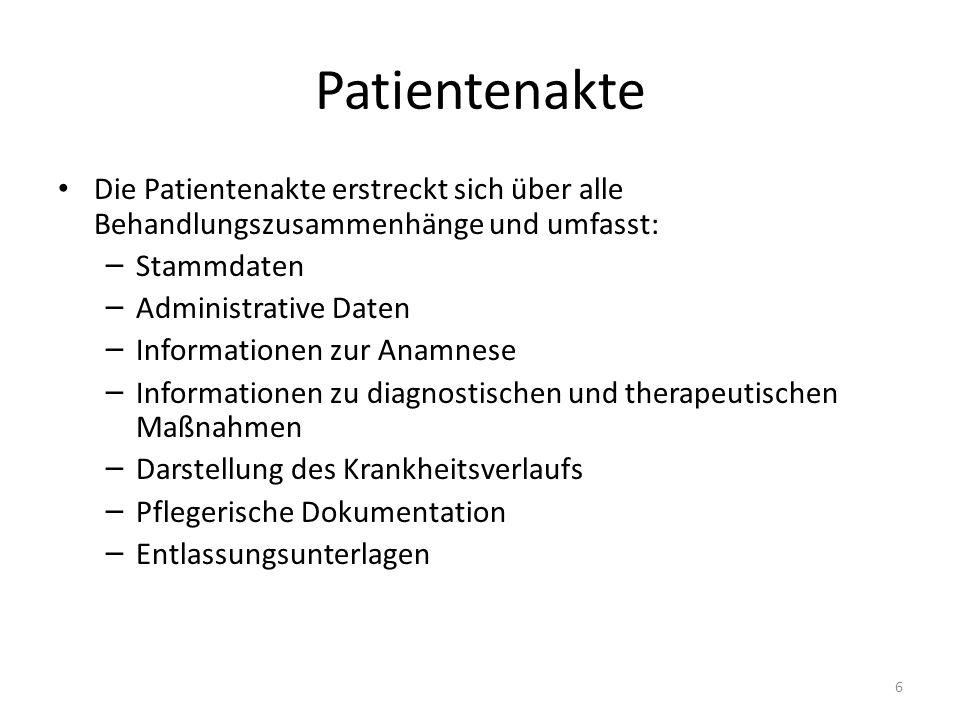 Patientenakte Die Patientenakte erstreckt sich über alle Behandlungszusammenhänge und umfasst: Stammdaten.