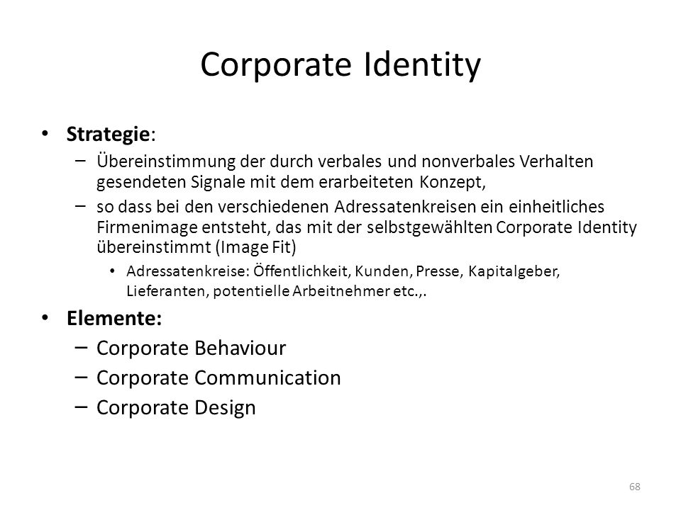 Corporate Identity Strategie: Elemente: Corporate Behaviour