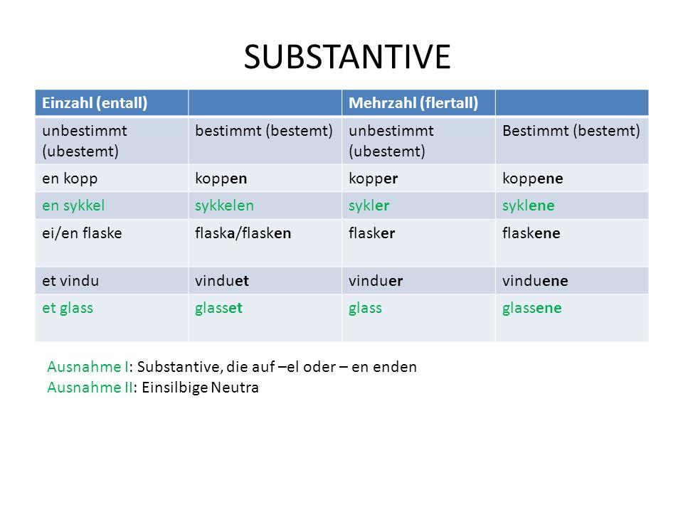 SUBSTANTIVE Einzahl (entall) Mehrzahl (flertall) unbestimmt (ubestemt)