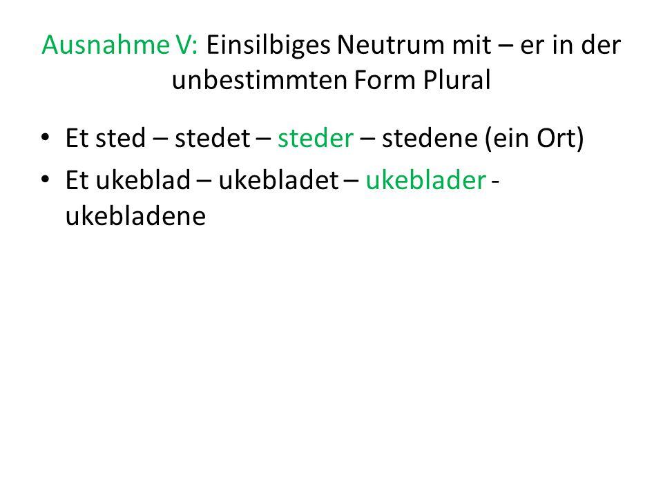 Ausnahme V: Einsilbiges Neutrum mit – er in der unbestimmten Form Plural