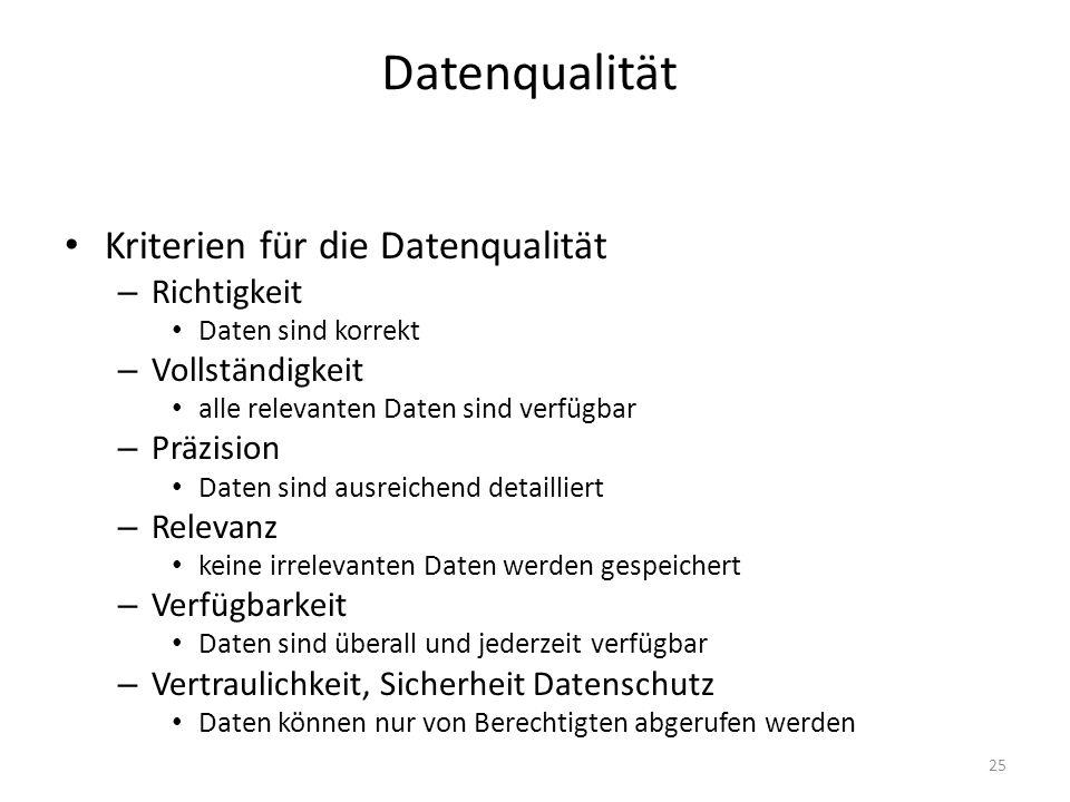 Datenqualität Kriterien für die Datenqualität Richtigkeit