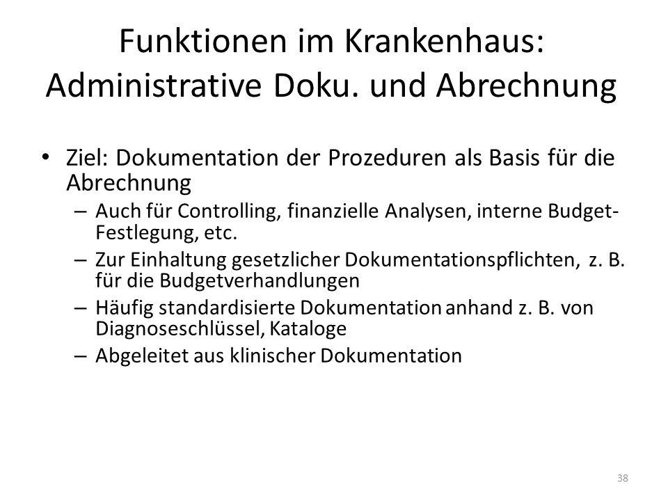 Funktionen im Krankenhaus: Administrative Doku. und Abrechnung