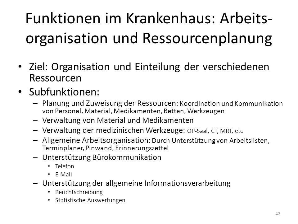 Funktionen im Krankenhaus: Arbeits-organisation und Ressourcenplanung