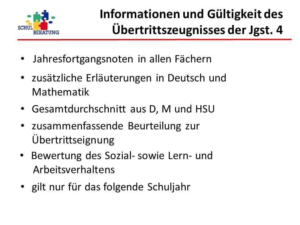 Informationen und Gültigkeit des Übertrittszeugnisses der Jgst. 4