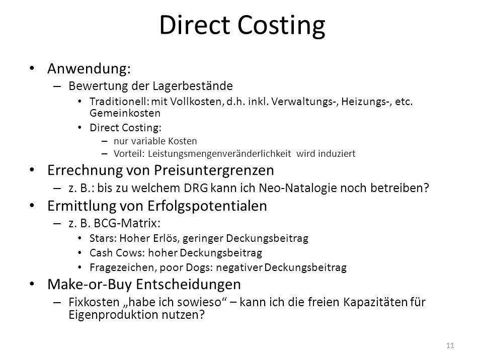 Direct Costing Anwendung: Errechnung von Preisuntergrenzen