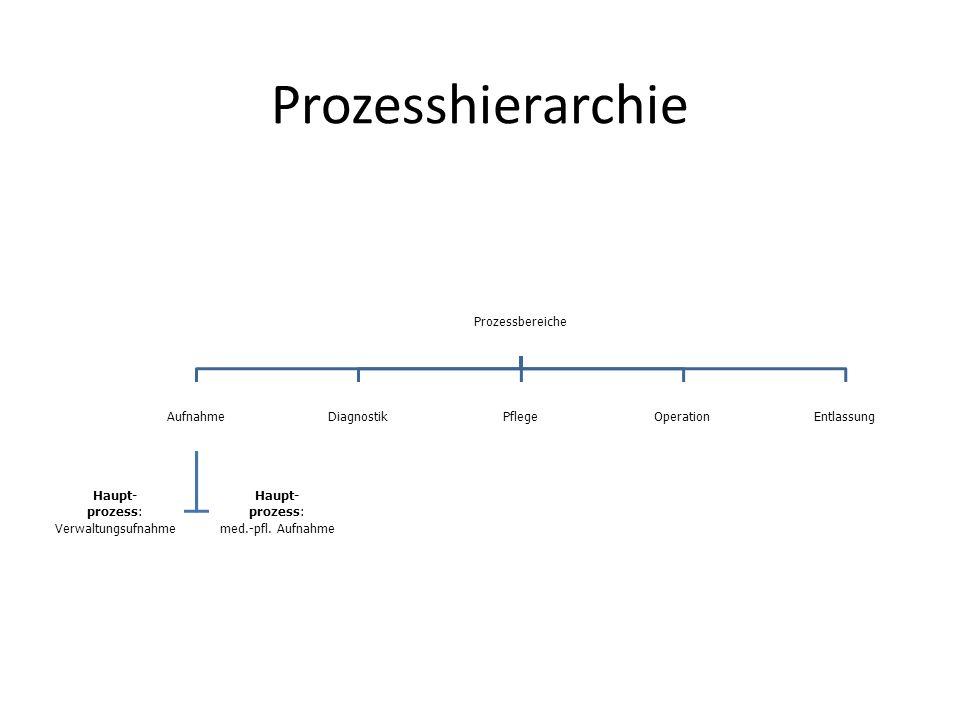 Prozesshierarchie Prozessbereiche Aufnahme Verwaltungsufnahme prozess:
