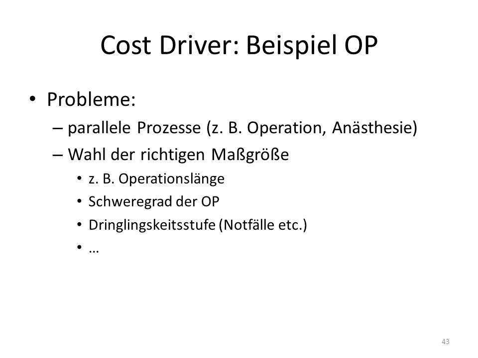 Cost Driver: Beispiel OP