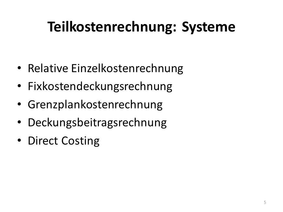Teilkostenrechnung: Systeme
