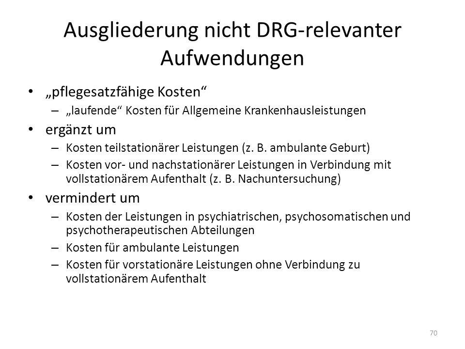 Ausgliederung nicht DRG-relevanter Aufwendungen