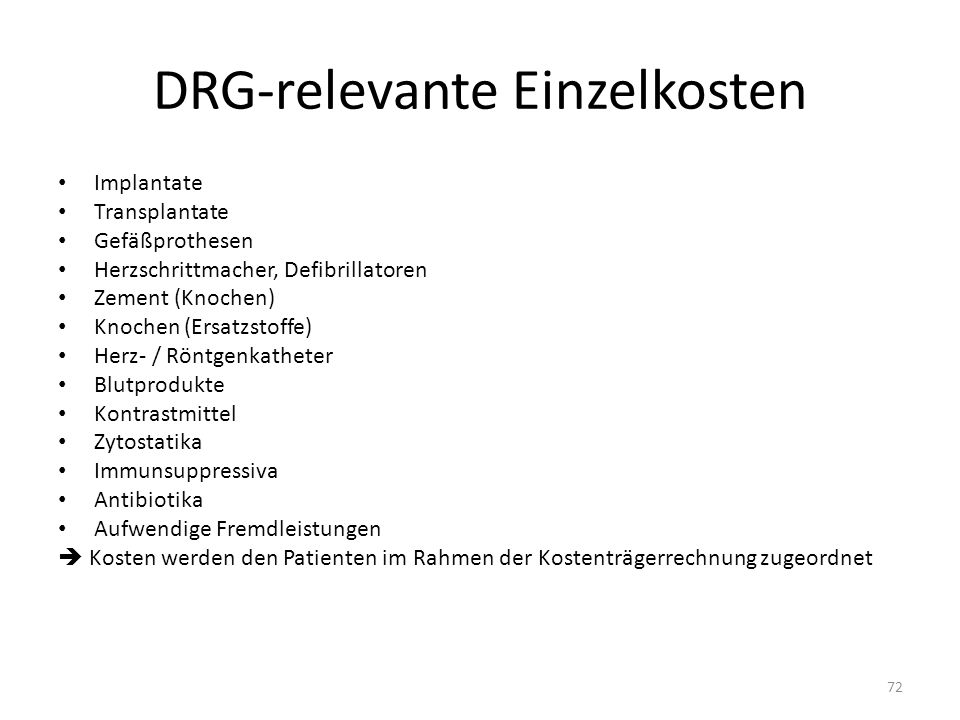 DRG-relevante Einzelkosten