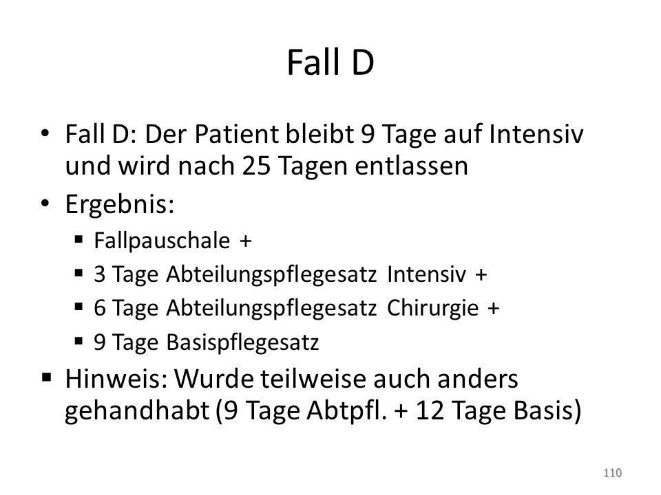 Fall D Fall D: Der Patient bleibt 9 Tage auf Intensiv und wird nach 25 Tagen entlassen. Ergebnis: Fallpauschale +