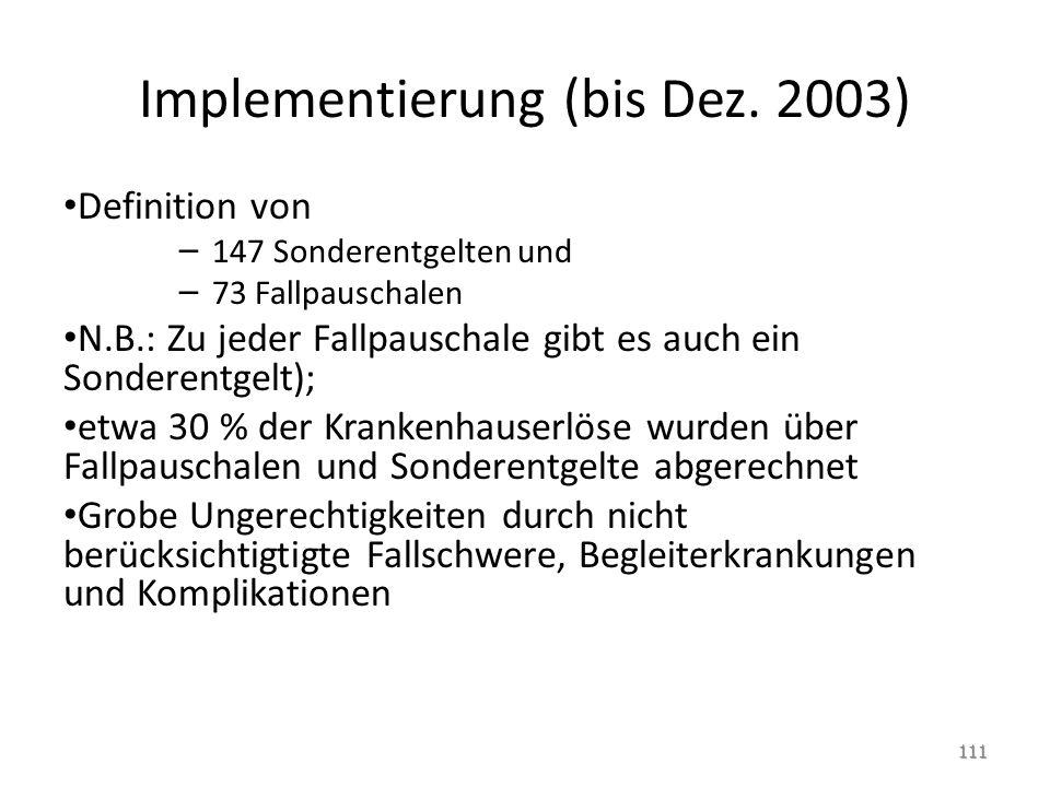 Implementierung (bis Dez. 2003)