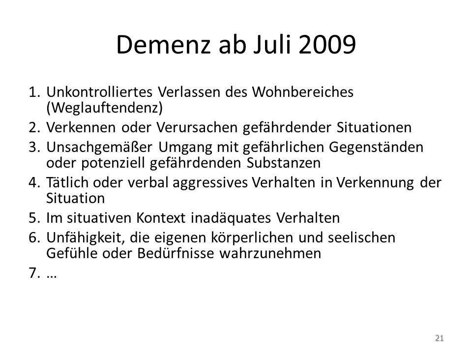 Demenz ab Juli 2009 Unkontrolliertes Verlassen des Wohnbereiches (Weglauftendenz) Verkennen oder Verursachen gefährdender Situationen.