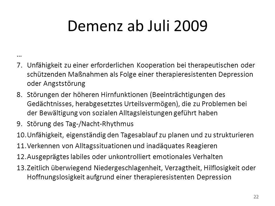 Demenz ab Juli 2009 …