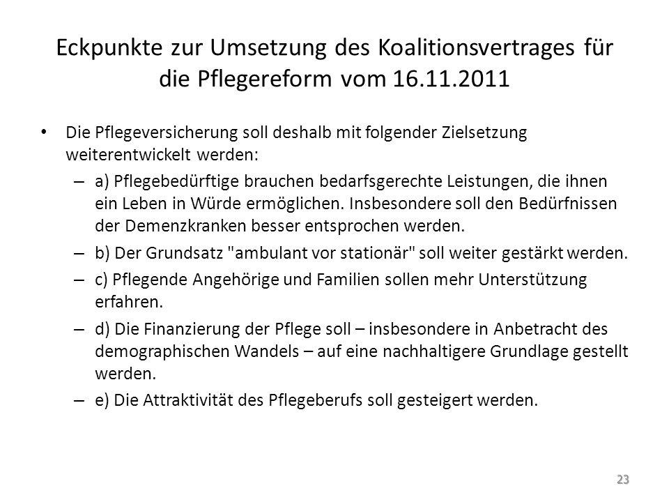 Eckpunkte zur Umsetzung des Koalitionsvertrages für die Pflegereform vom 16.11.2011