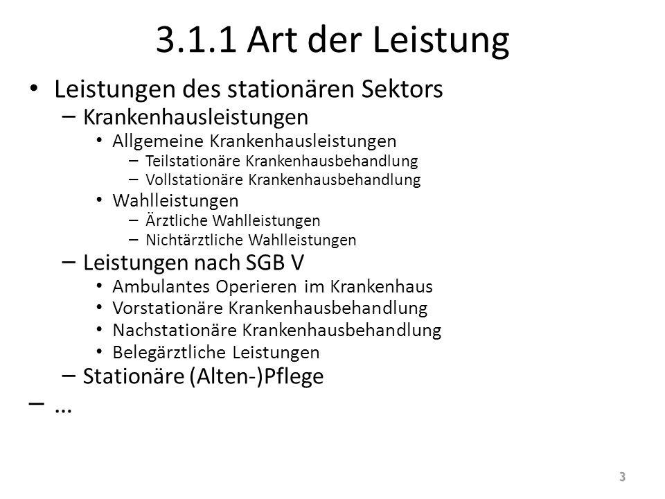 3.1.1 Art der Leistung Leistungen des stationären Sektors …