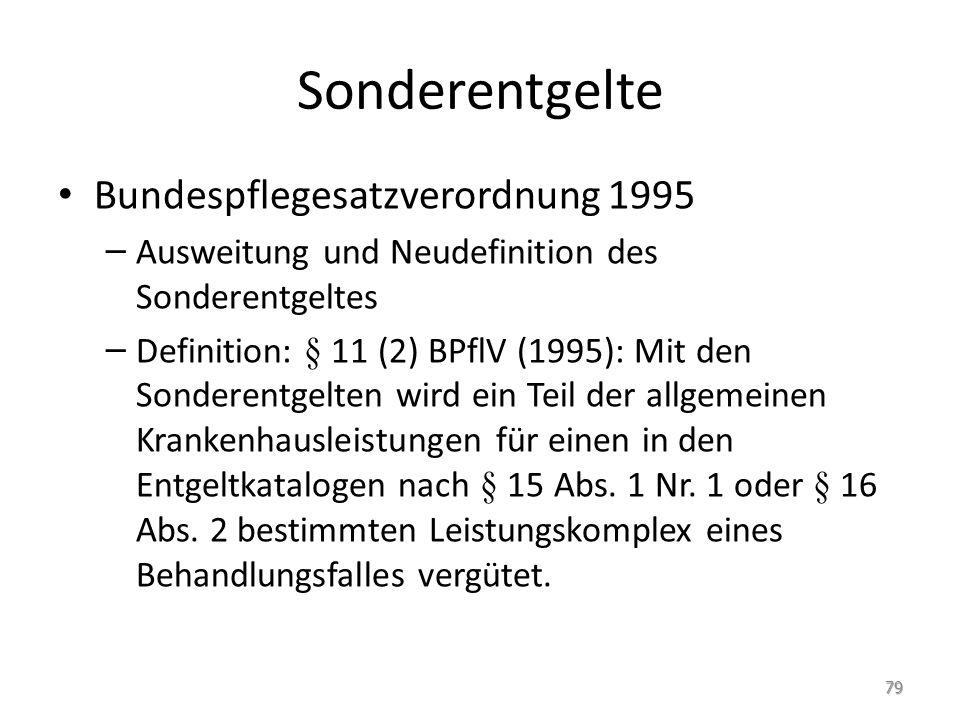 Sonderentgelte Bundespflegesatzverordnung 1995