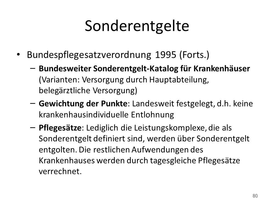 Sonderentgelte Bundespflegesatzverordnung 1995 (Forts.)