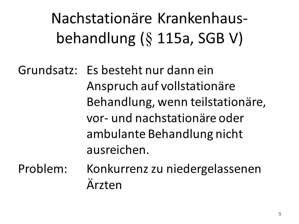 Nachstationäre Krankenhaus-behandlung (§ 115a, SGB V)