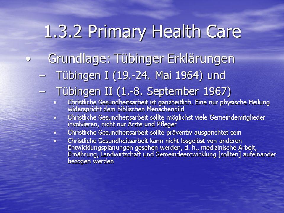 1.3.2 Primary Health Care Grundlage: Tübinger Erklärungen