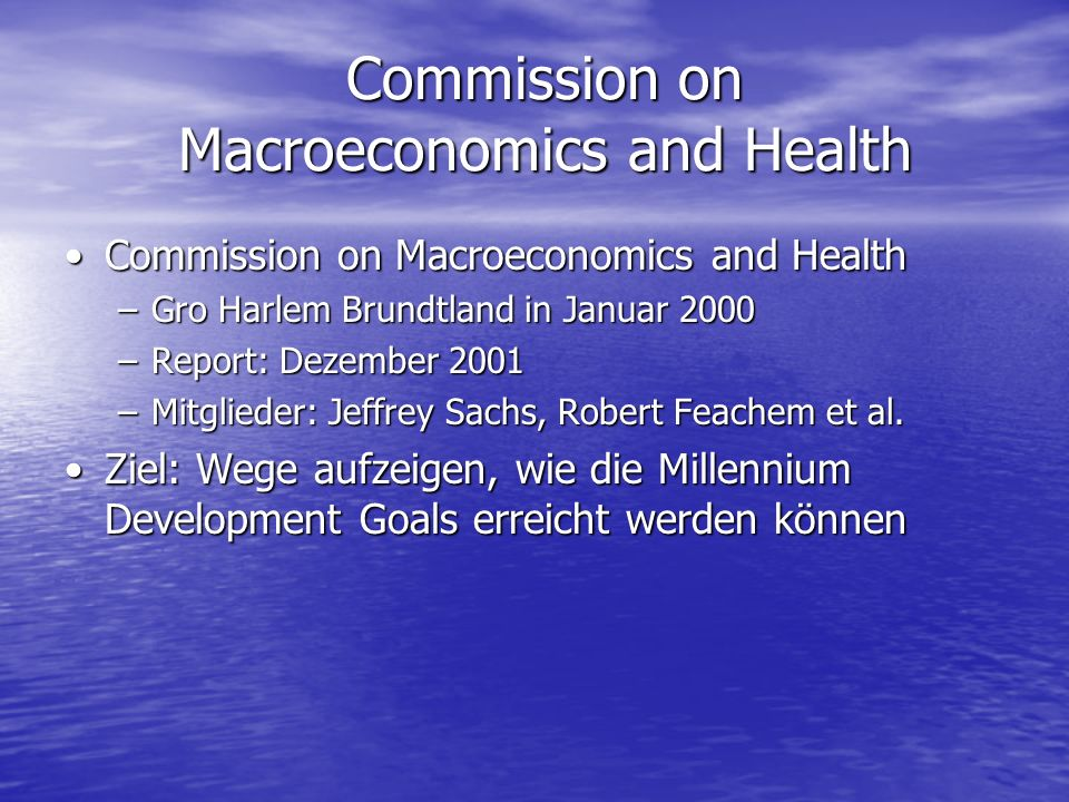 Commission on Macroeconomics and Health