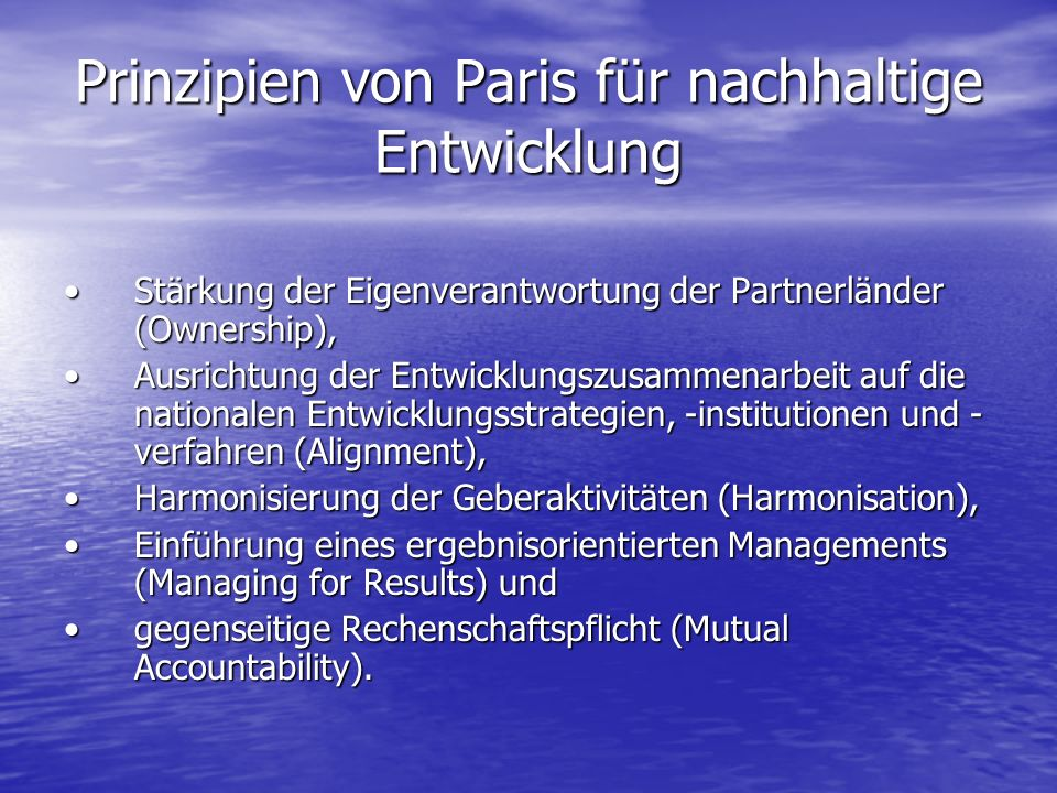 Prinzipien von Paris für nachhaltige Entwicklung