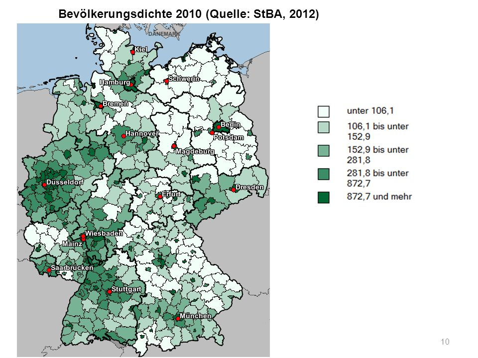 Bevölkerungsdichte 2010 (Quelle: StBA, 2012)