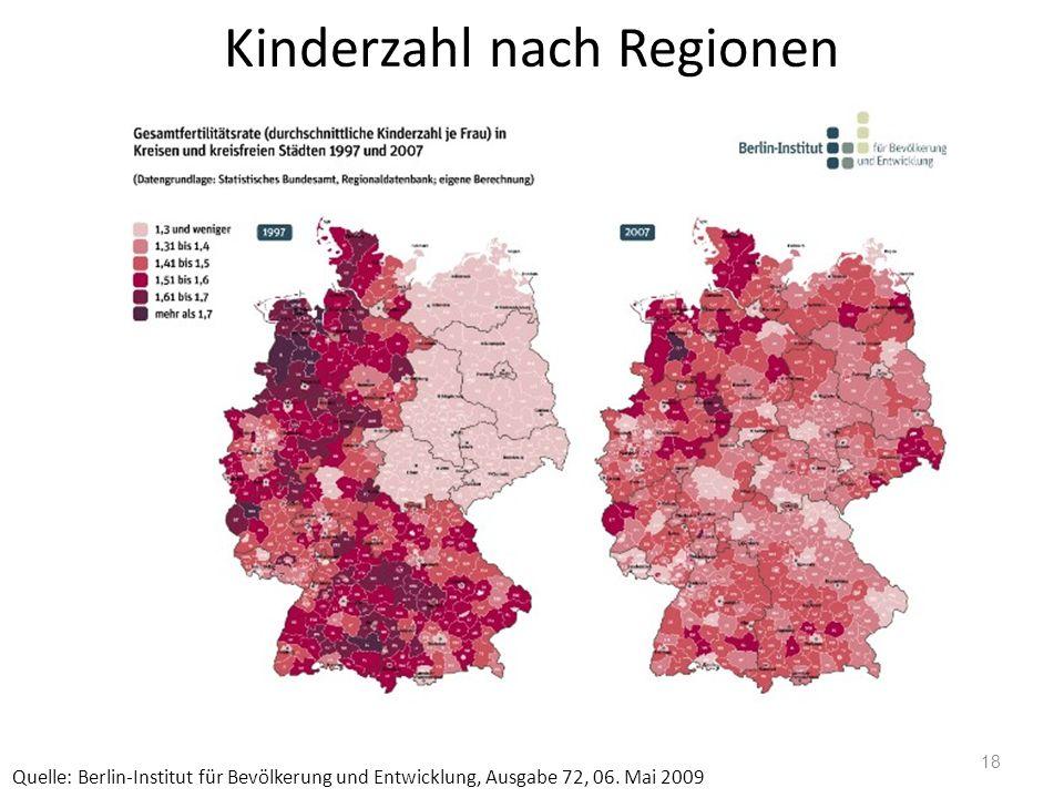 Kinderzahl nach Regionen