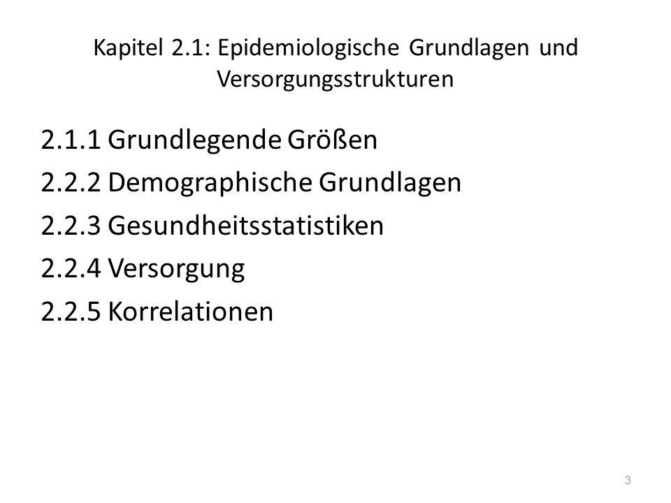Kapitel 2.1: Epidemiologische Grundlagen und Versorgungsstrukturen