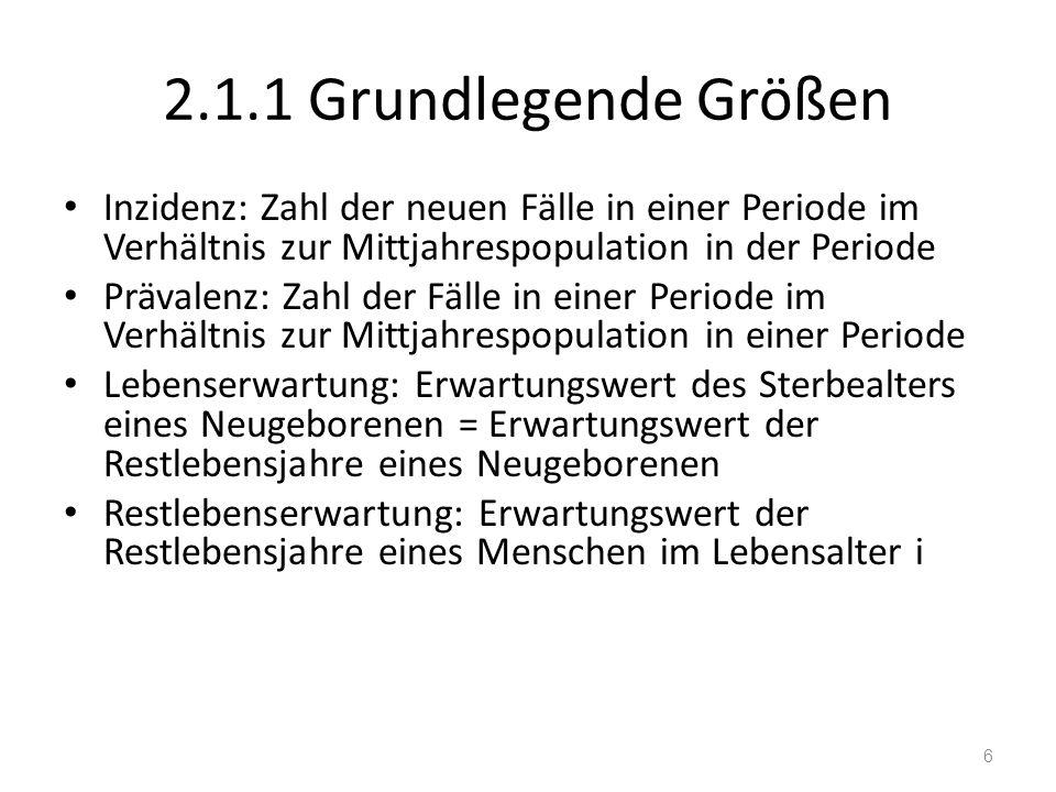 2.1.1 Grundlegende Größen Inzidenz: Zahl der neuen Fälle in einer Periode im Verhältnis zur Mittjahrespopulation in der Periode.