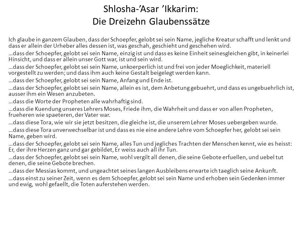 Shlosha-'Asar 'Ikkarim: Die Dreizehn Glaubenssätze