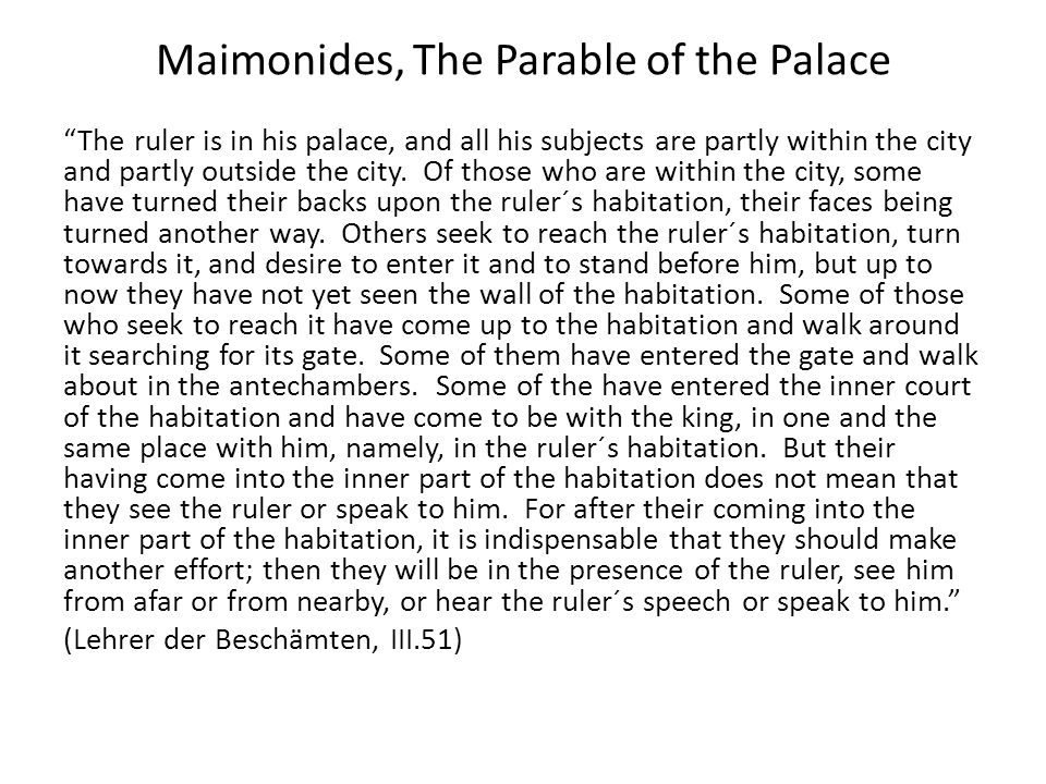 Maimonides, The Parable of the Palace
