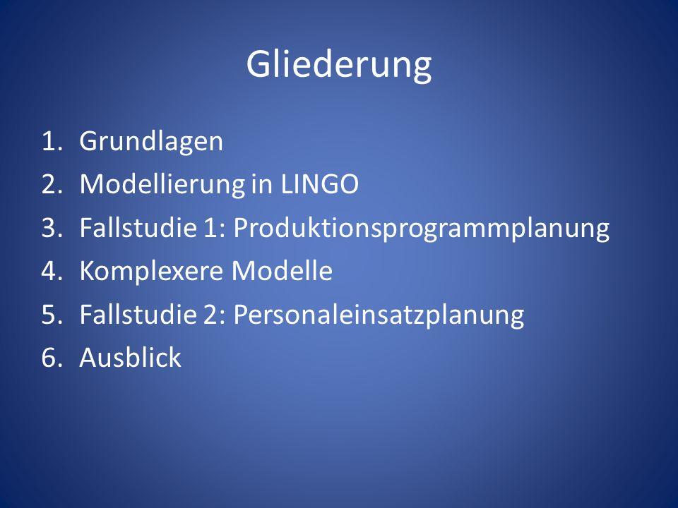 Gliederung Grundlagen Modellierung in LINGO