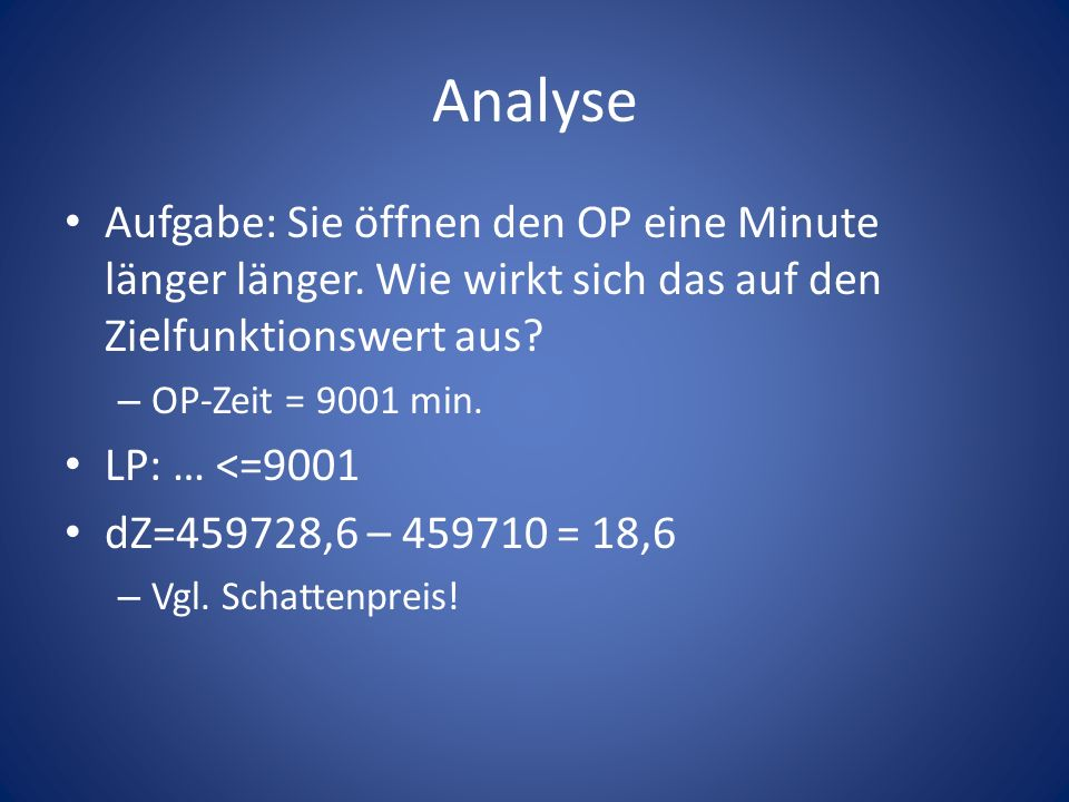 Analyse Aufgabe: Sie öffnen den OP eine Minute länger länger. Wie wirkt sich das auf den Zielfunktionswert aus