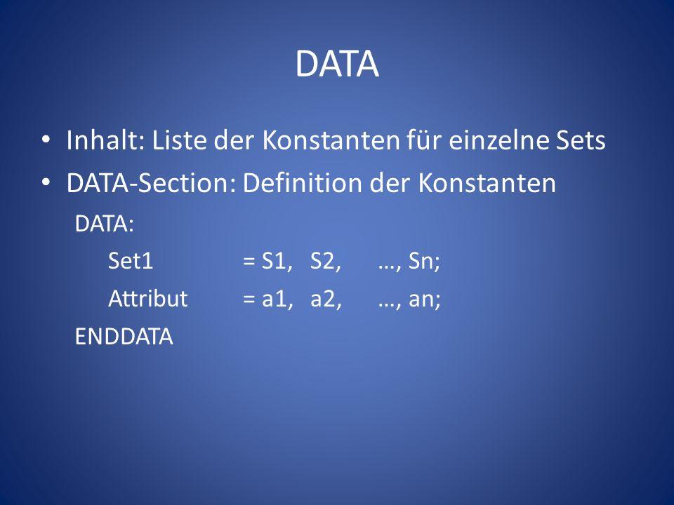 DATA Inhalt: Liste der Konstanten für einzelne Sets