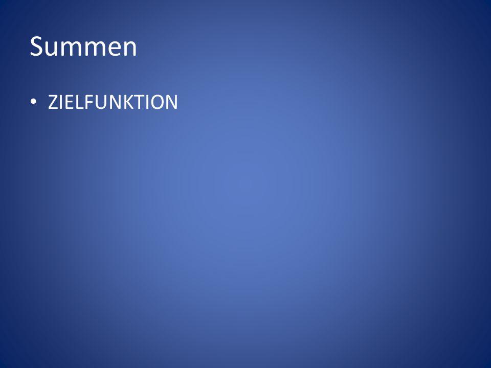 Summen ZIELFUNKTION