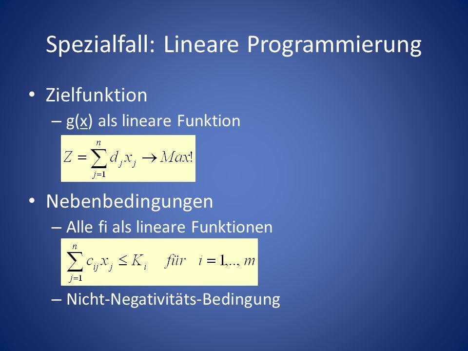Spezialfall: Lineare Programmierung