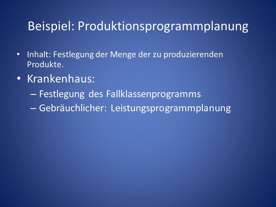 Beispiel: Produktionsprogrammplanung