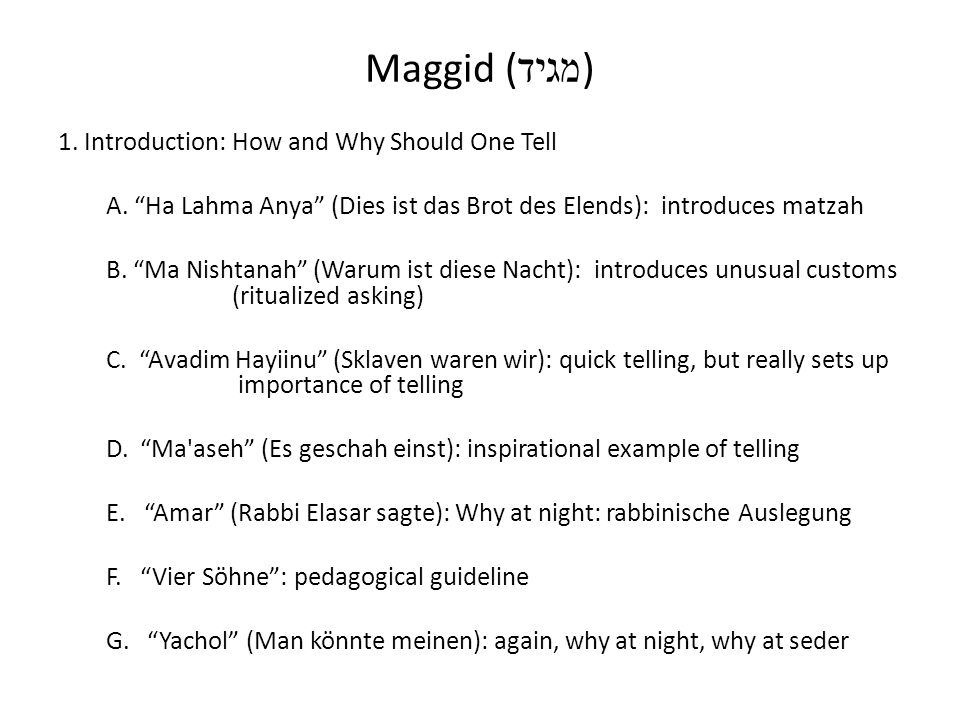 Maggid (מגיד) 1. Introduction: How and Why Should One Tell