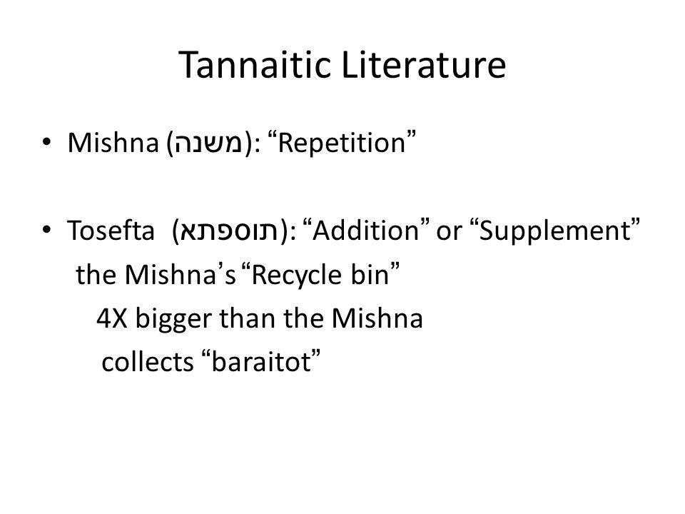 Tannaitic Literature Mishna (משנה): Repetition