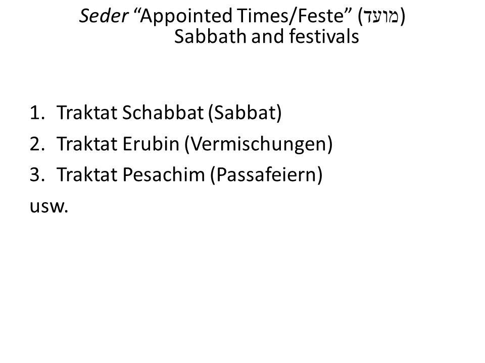 Seder Appointed Times/Feste (מועד) Sabbath and festivals
