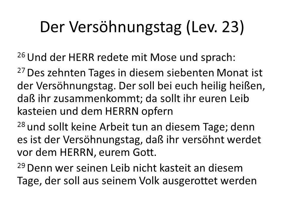 Der Versöhnungstag (Lev. 23)