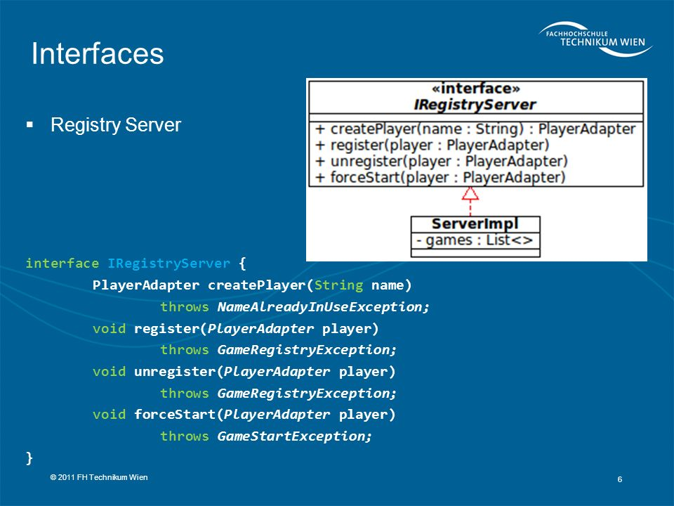 Interfaces Registry Server interface IRegistryServer {