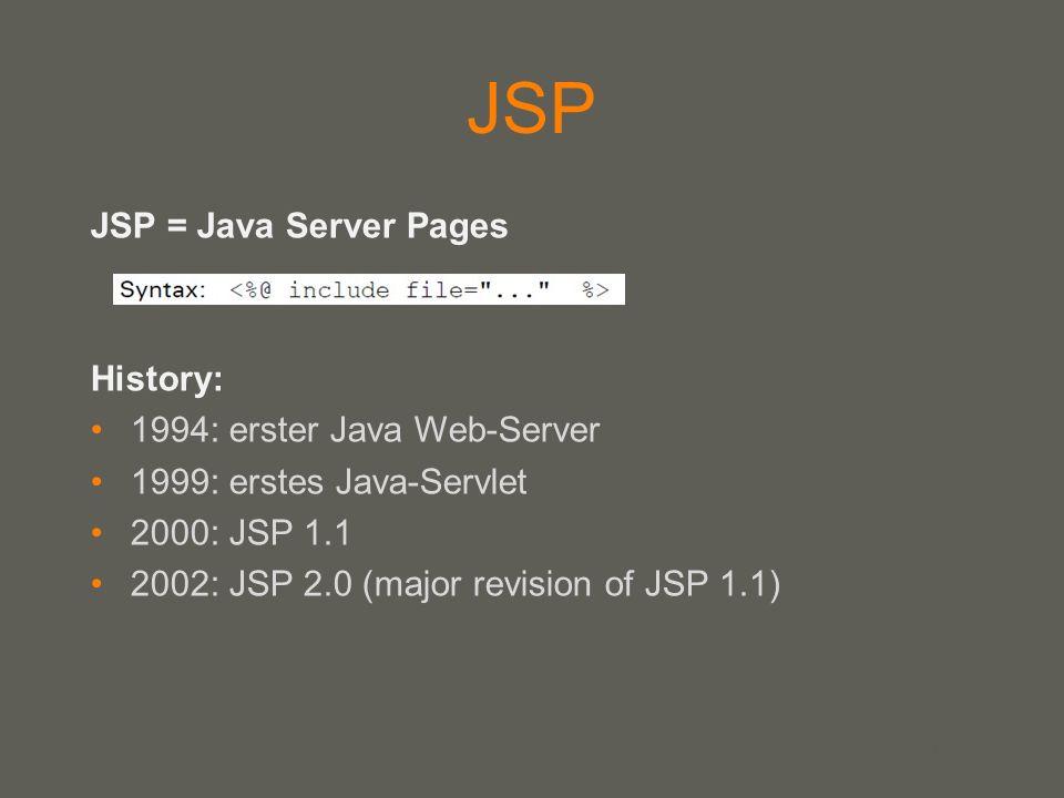 JSP JSP = Java Server Pages History: 1994: erster Java Web-Server