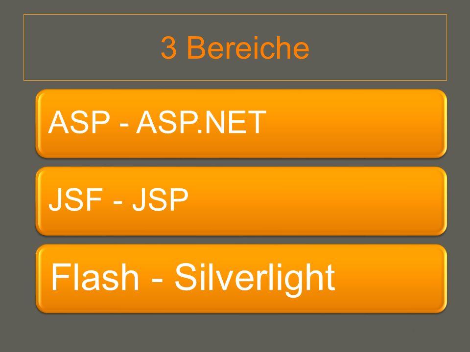 3 Bereiche ASP - ASP.NET JSF - JSP Flash - Silverlight