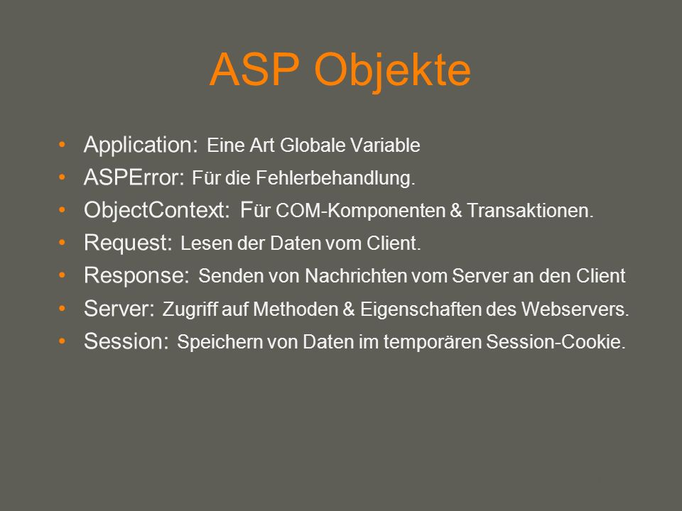 ASP Objekte Application: Eine Art Globale Variable