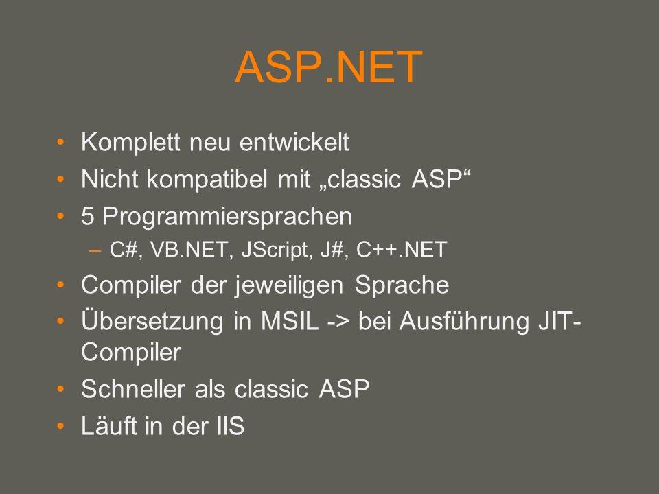 """ASP.NET Komplett neu entwickelt Nicht kompatibel mit """"classic ASP"""
